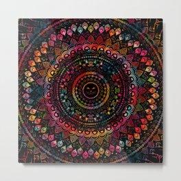 Rainbow Kitty Cat Mandala Metal Print