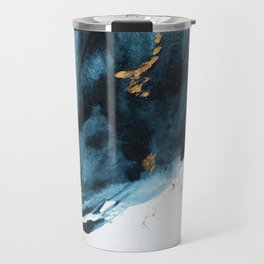A Minimal Sapphire and Gold Abstract piece in blue white and gold by Alyssa Hamilton Art  Travel Mug