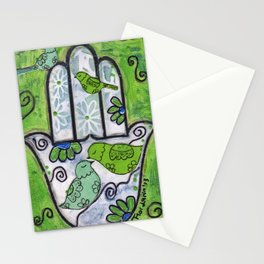 Hamsa with Birds by Flor Larios Stationery Cards