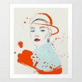 Lady in orange and blue Art Print