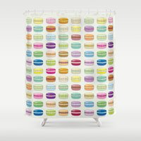 macaroon Shower Curtains featuring Colorful macaroon set by MiartDesignCreation