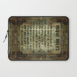 House rules on aged vintage retro looking parchment patina Laptop Sleeve