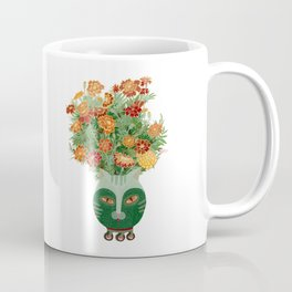 Marigolds in cat face vase  Coffee Mug