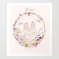 gemini Art Prints featuring Gemini by Danse de Lune