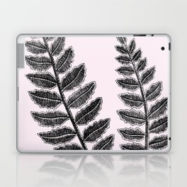 Black Lace Fern Blush Pink Laptop & iPad Skin