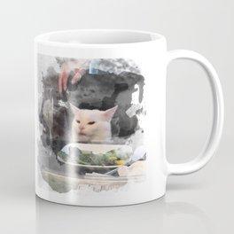 Woman Yelling at Cat Art Print Watercolor Coffee Mug