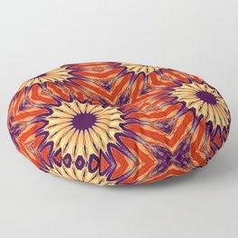 Coral Indigo Pinwheel Flowers Floor Pillow