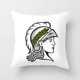 Minerva Head Side Profile Retro Throw Pillow