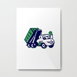 Roll-Off Bin Truck Waving Cartoon Metal Print
