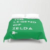the legend of zelda Duvet Covers featuring The Legend of Zelda by Slippytee Clothing