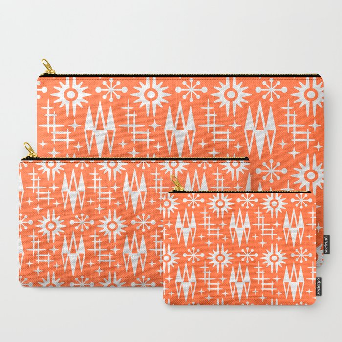 Mid Century Modern Atomic Space Age Pattern Orange Carry-All Pouch