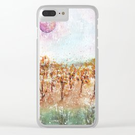 Watercolor Pink Moon Landscape Clear iPhone Case