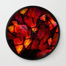 Fragments Of Fire - Abstract, geometric, fragmented pattern Wall Clock