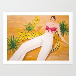 Girl and Panthers in Palm Desert Art Print