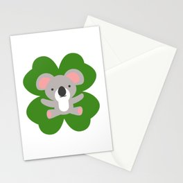 Koala On 4 Leaf Clover- St. Patricks Day Animal Stationery Cards