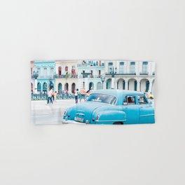 Colorful Blue Car in Old Havana Cuba Hand & Bath Towel