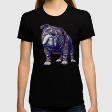 English Bulldog (Color Version) Black MEDIUM Womens Fitted Tee