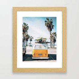 Palms, Car, California, Nature, Summer, Beach, Tropical, Scandinavian, Wall art Framed Art Print