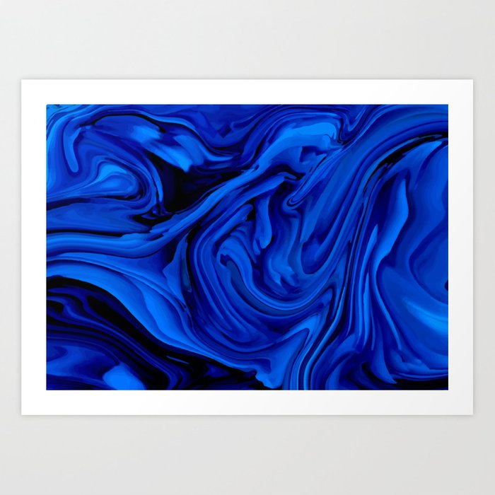 Blue Liquid Marbled texture Kunstdrucke