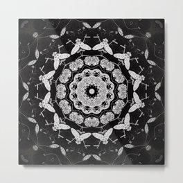Dark Moth Mandala Metal Print