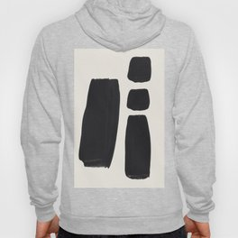Mid Century Modern Minimalist Abstract Art Brush Strokes Black & White Ink Art Square Shapes Hoody