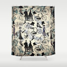 Victorian Bicycles and Fashion Shower Curtain