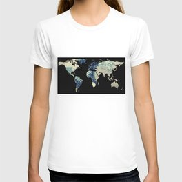 World Map Silhouette - The Great Wave Off Kanagawa T-shirt