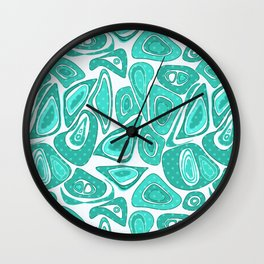Retro .Turquoise abstraction . Wall Clock