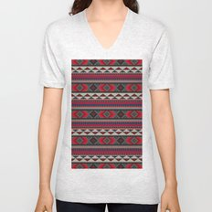 Navajo blanket pattern- red Unisex V-Neck