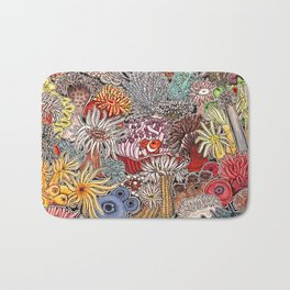 Clown fish and Sea anemones Bath Mat