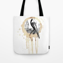 Coffee Stained Brown Pelican-Louisiana Series Tote Bag