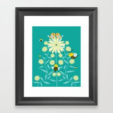 Bees, birds and flowers Framed Art Print