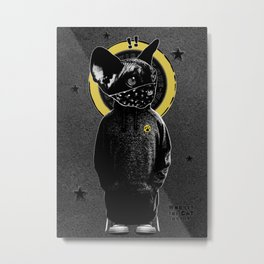 Who Let the Cat Out !? on grey wall Metal Print