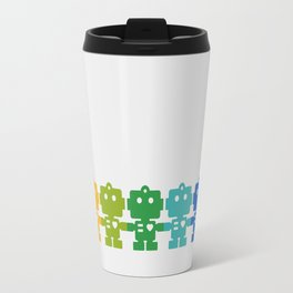 Rainbow Robots Holding Hands Travel Mug