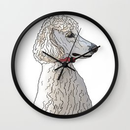 Kyah the White Standard Poodle Wall Clock