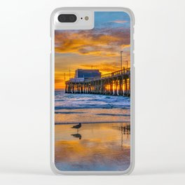 Low Tide Sunset Seagull at Newport Pier Clear iPhone Case