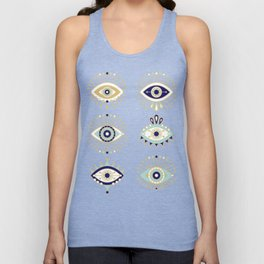 Evil Eye Collection on White Unisex Tank Top
