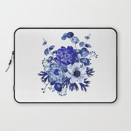 China Blue Porcelain, Asia, Peony, Flower, Floral, Cyan Laptop Sleeve