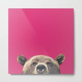 Bear - Pink Metal Print