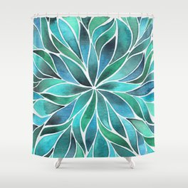 Floral Vines - Blue Green Shower Curtain