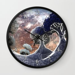 Broccoli Planet in Winter Wall Clock