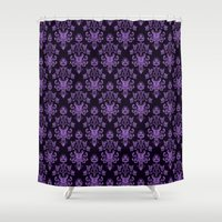 haunted mansion Shower Curtains featuring Haunted Wallpaper by Ellador