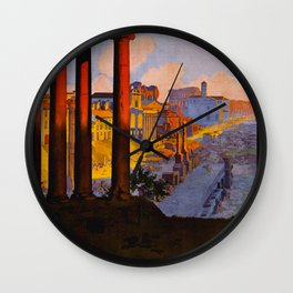 Vintage Rome Italy Travel Wall Clock