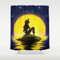 little mermaid Shower Curtains featuring Little Mermaid by DisPrints