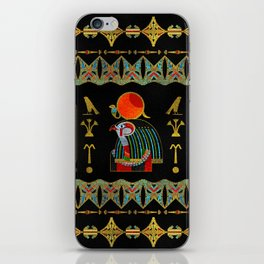 Egyptian Horus Ornament in colored glass and gold iPhone Skin