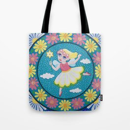 Daisy Flower Fairy Mandala Tote Bag
