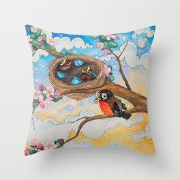 Spring: Mother Robin Throw Pillow