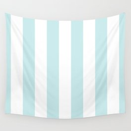Duck Egg Pale Aqua Blue and White Wide Vertical Cabana Tent Stripe Wall Tapestry