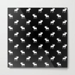 moose black and white pattern Metal Print