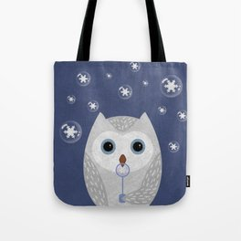Christmas Owl Blue Marble Tote Bag